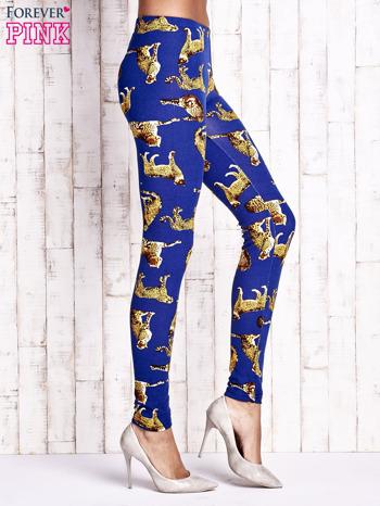 Niebieskie legginsy w gepardy                                  zdj.                                  3
