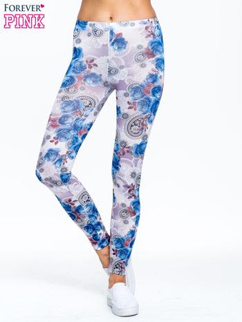 Niebieskie legginsy w kwiatki                                  zdj.                                  1