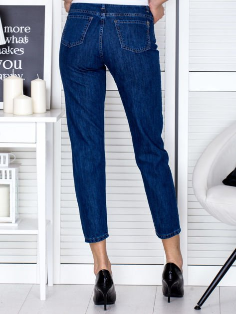 Niebieskie proste spodnie z perełkami                                  zdj.                                  3