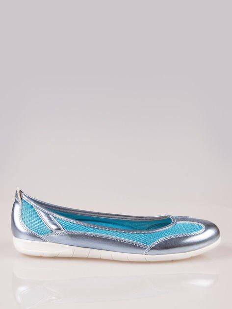 Niebieskie siateczkowe baleriny Comfort w sportowym stylu                                  zdj.                                  1