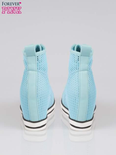 Niebieskie siateczkowe sneakersy damskie                                  zdj.                                  3