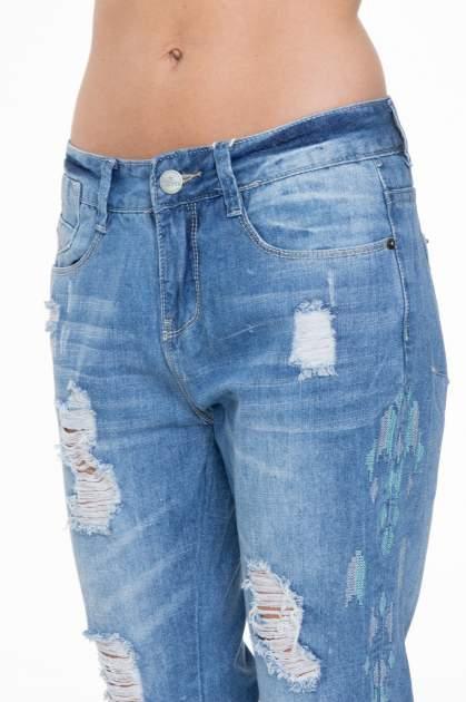Niebieskie spodnie jeansowe boyfriendy z przetarciami                                  zdj.                                  7
