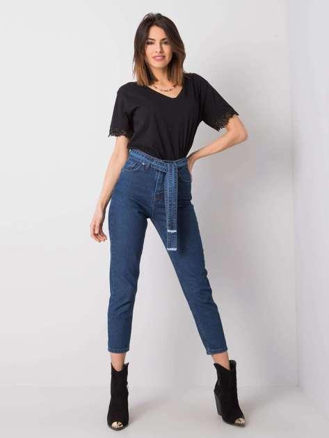 Niebieskie spodnie jeansowe high waist Kiara RUE PARIS