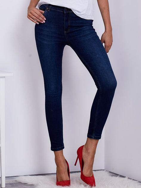 Niebieskie spodnie jeansowe high waist ze stretchem                              zdj.                              1