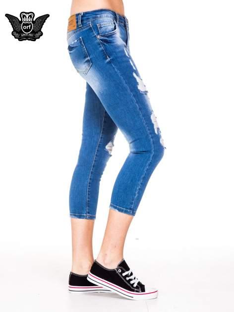 Niebieskie spodnie jeansowe skinny do połowy łydki                                  zdj.                                  3