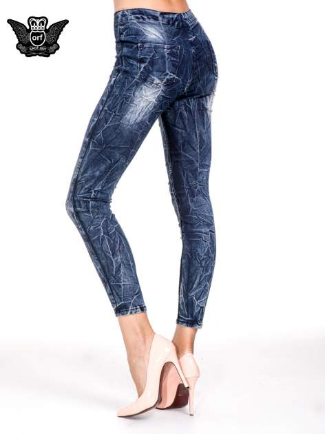 Niebieskie spodnie skinny jeans z efektem destroyed                                  zdj.                                  4