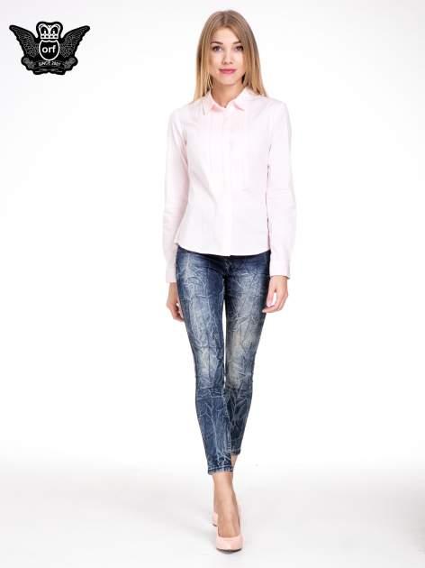 Niebieskie spodnie skinny jeans z efektem destroyed                                  zdj.                                  2