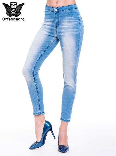Niebieskie spodnie skinny jeans z wysokim stanem