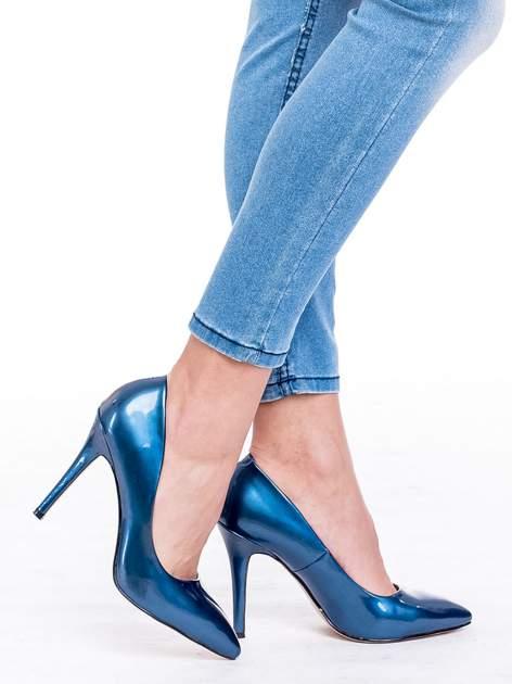 Niebieskie spodnie skinny jeans z wysokim stanem                                  zdj.                                  6