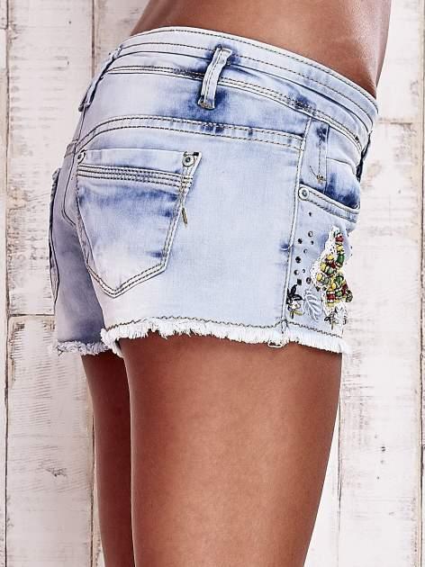 Niebieskie szorty jeansowe z haftem                                  zdj.                                  6