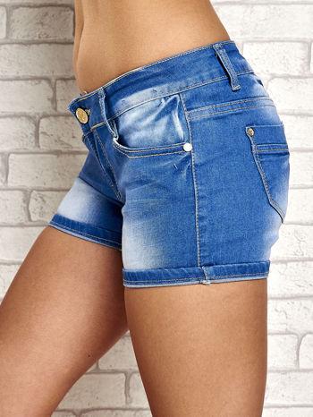 Niebieskie szorty jeansowe z przetarciami                                  zdj.                                  6