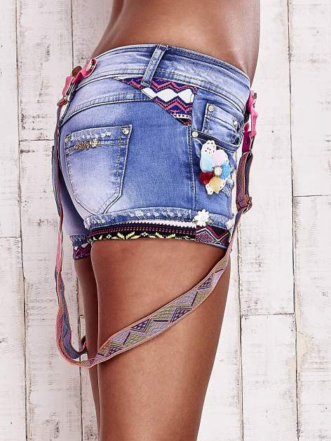 Niebieskie szorty jeansowe z szelkami                                  zdj.                                  5