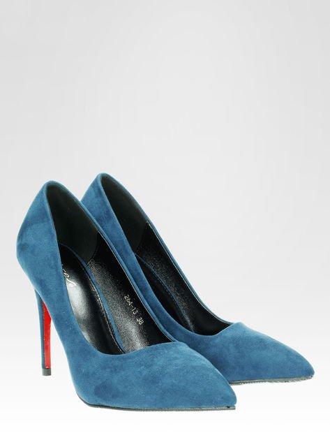 Niebieskie szpilki w szpic z zamszu faux suede                                  zdj.                                  6