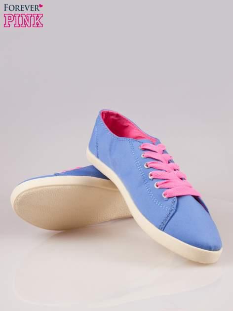 Niebieskie tenisówki damskie z różowymi sznurówkami                                  zdj.                                  4