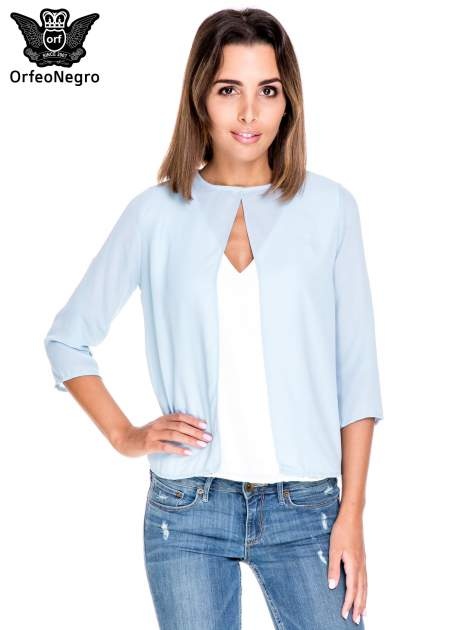 Niebiesko-biała dwuwarstwowa koszula o kroju narzutki                                  zdj.                                  1