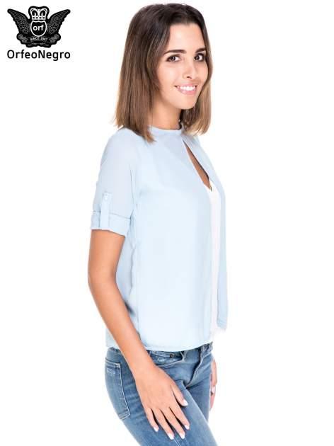 Niebiesko-biała dwuwarstwowa koszula o kroju narzutki                                  zdj.                                  5