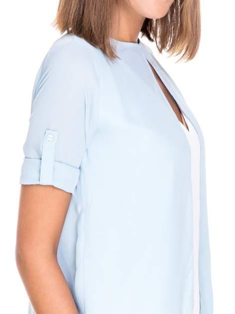 Niebiesko-biała dwuwarstwowa koszula o kroju narzutki                                  zdj.                                  7