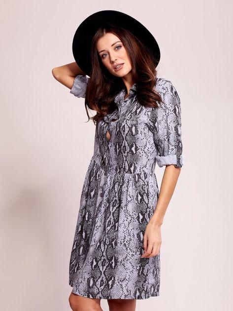 Niebiesko-czarna wzorzysta sukienka z kołnierzykiem                              zdj.                              3