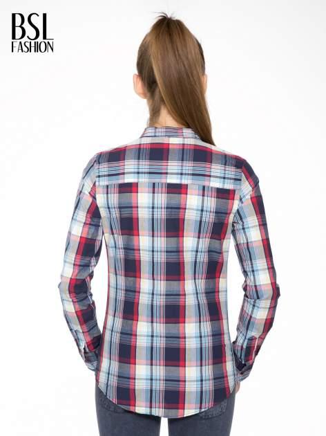 Niebiesko-czerwona koszula w kratę z kieszeniami                                  zdj.                                  8