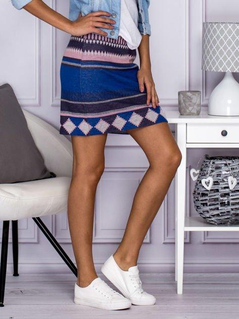 Niebiesko-różowa spódnica w azteckie wzory                                  zdj.                                  5