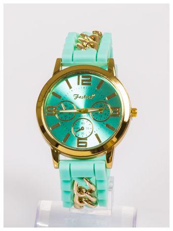 Nowoczesny damski zegarek z łańcuszkiem i ozdobnym chronografem na wygodnym silikonowym pasku