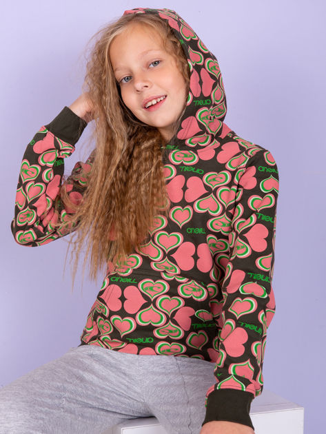 O'NEILL Khaki-koralowa bluza dla dziewczynki w serduszka