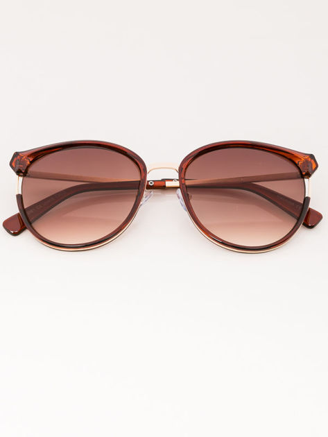 MANINA Okulary przeciwsłoneczne damskie brązowo-złote szkło dymione                              zdj.                              1