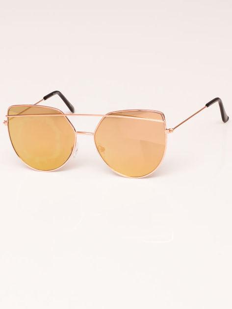Okulary przeciwsłoneczne damskie lustrzanki złote Szkło różowo-złote