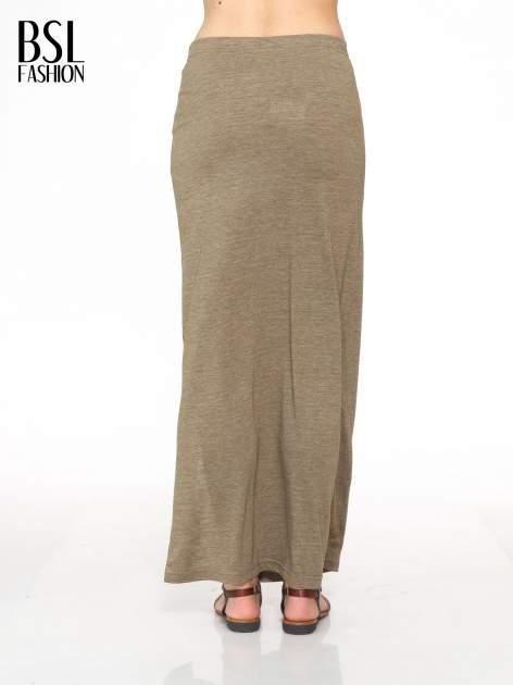 Oliwkowa melanżowa spódnica maxi z rozcięciem                                  zdj.                                  4