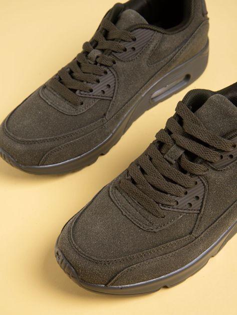 Oliwkowe damskie buty sportowe na sprężystych podeszwach                              zdj.                              3