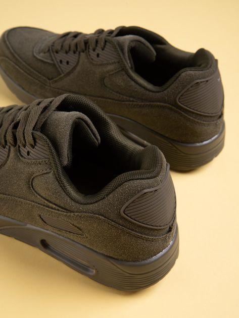 Oliwkowe damskie buty sportowe na sprężystych podeszwach                              zdj.                              4