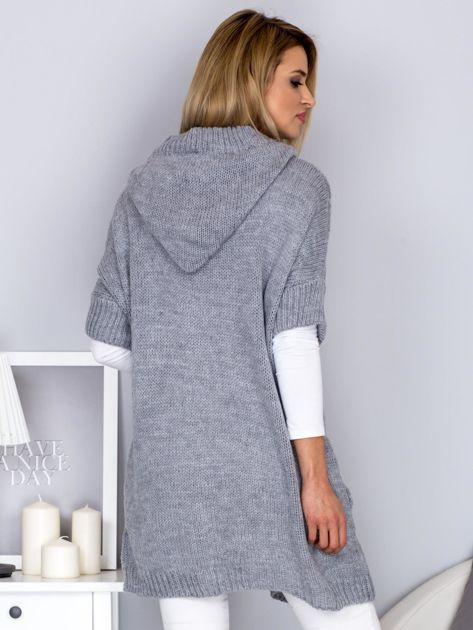 Otwarty sweter z warkoczowym wzorem i kapturem jasnoszary                              zdj.                              2