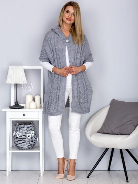 Otwarty sweter z warkoczowym wzorem i kapturem jasnoszary                                  zdj.                                  4