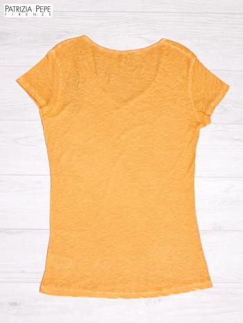 PATRIZIA PEPE Pomarańczowy t-shirt z trójkątnym dekoltem PLUS SIZE                              zdj.                              2