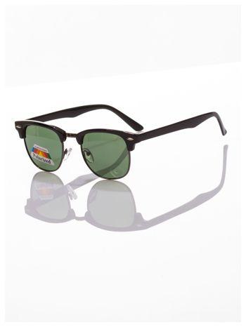 POLARYZACJA Czarne okulary przeciwsłoneczne typu CLUBMASTER +GRATISY