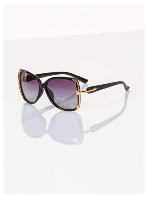POLARYZACJA Eleganckie czarne okulary stylizowane na GUCCI ze złotymi bokami+GRATISY