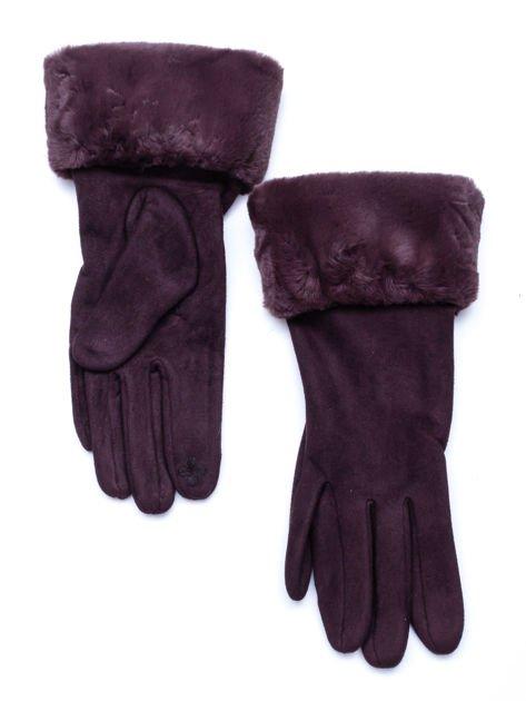 PREMIUM Dotykowe eleganckie zamszowe brązowe rękawiczki damskie