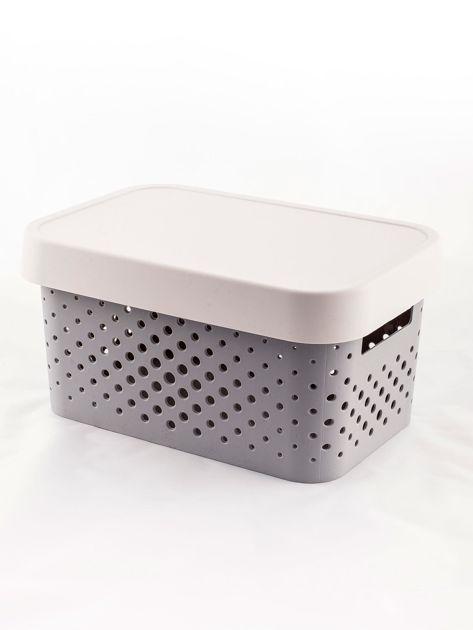 Pastelowe jasnoszare pudełko do przechowywania z pokrywką                              zdj.                              3
