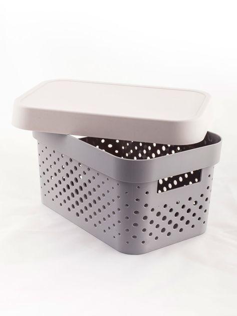 Pastelowe jasnoszare pudełko do przechowywania z pokrywką                              zdj.                              5