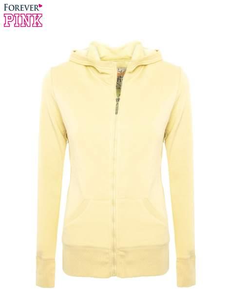 Pastelowo żółta bluza z kapturem                                  zdj.                                  2