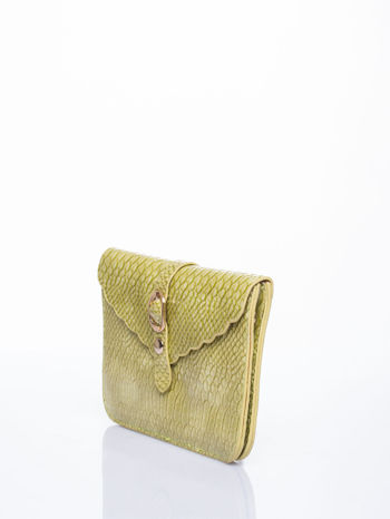 Pastelowozielona kopertówka z motywem skóry krokodyla                                  zdj.                                  3