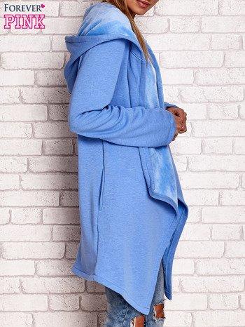 Płaszcz dresowy z kapturem niebieski                              zdj.                              3