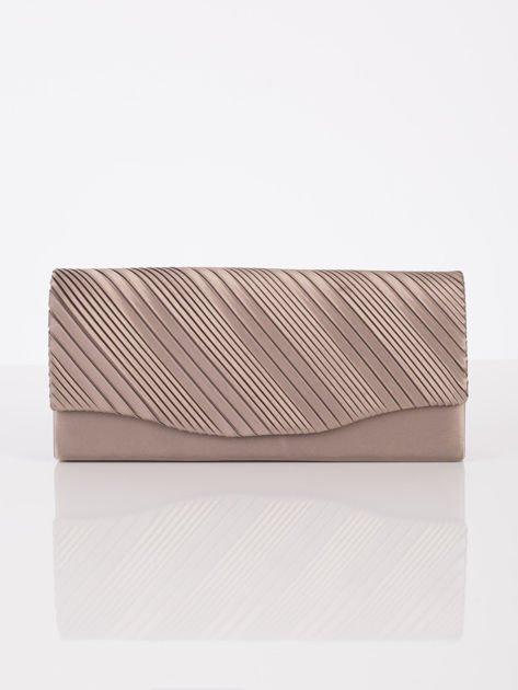 Plisowana elegancka kopertówka khaki                              zdj.                              2