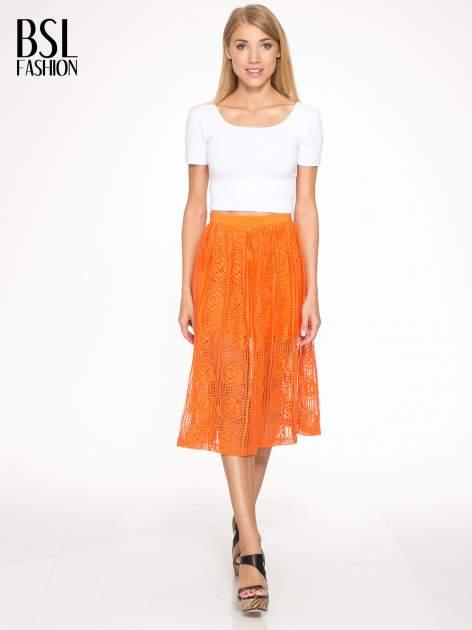 Pomarańczowa ażurowa spódnica midi                                  zdj.                                  5
