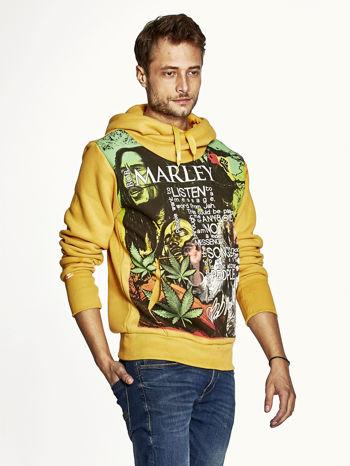 Pomarańczowa bluza męska z kapturem z nadrukiem reggae                                  zdj.                                  3