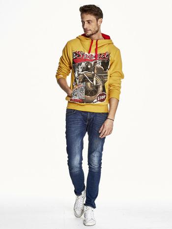 Pomarańczowa bluza męska z kapturem z napisem SPEED                              zdj.                              4