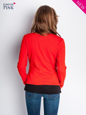 Pomarańczowa bluza o kroju ramoneski z asymetrycznym suwakiem                                  zdj.                                  4