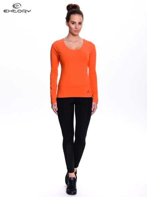 Pomarańczowa bluzka sportowa z dekoltem V                                  zdj.                                  2