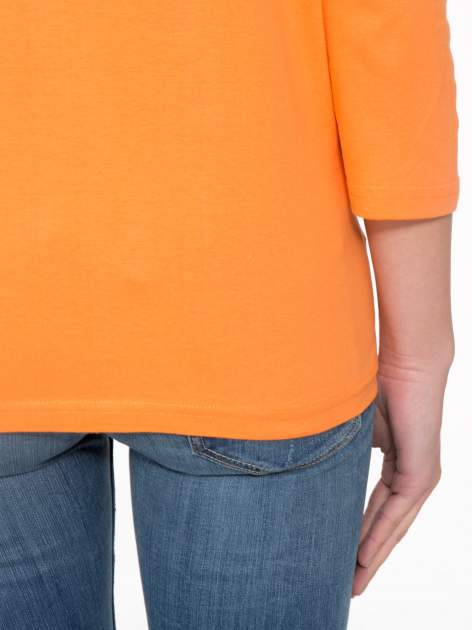 Pomarańczowa bluzka z marszczonym dekoltem i rękawkami 3/4                                  zdj.                                  8