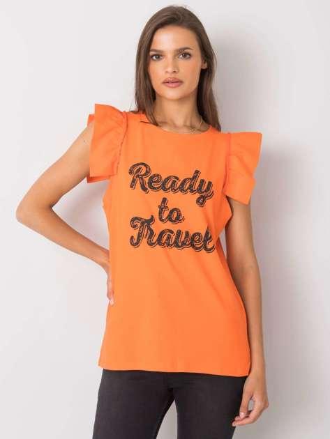 Pomarańczowa bluzka z nadrukiem Beverly